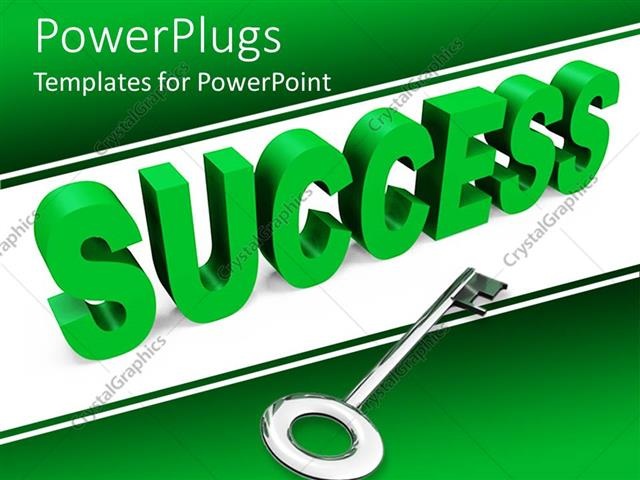 powerpoint template green 3d rendering of success with chrome key