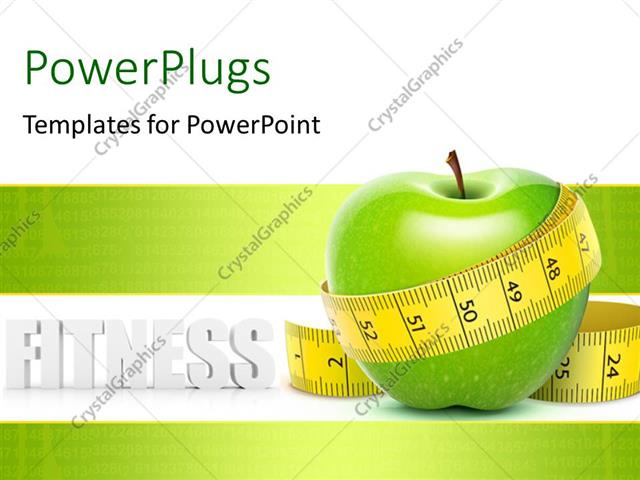Powerpoint Template A Green Apple With A Measurement Tape And Place For Text 14825