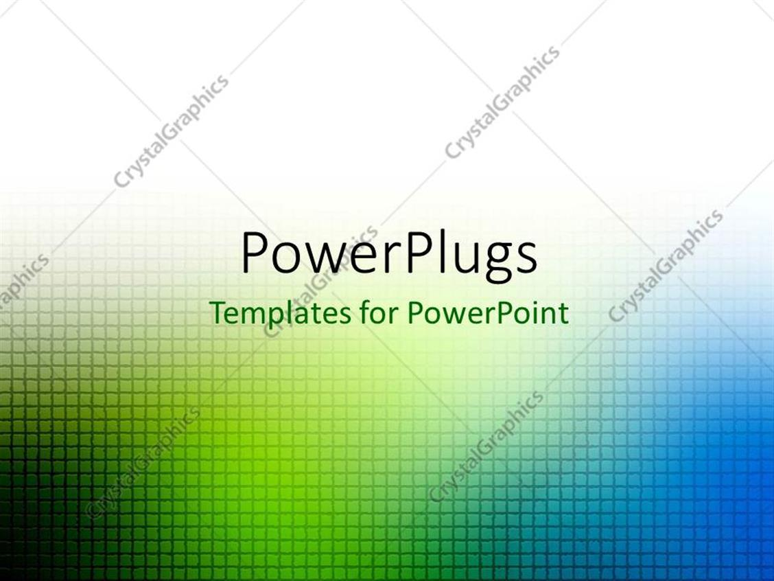 PowerPoint Template Displaying Green and Blue Blur Grid Over White Background