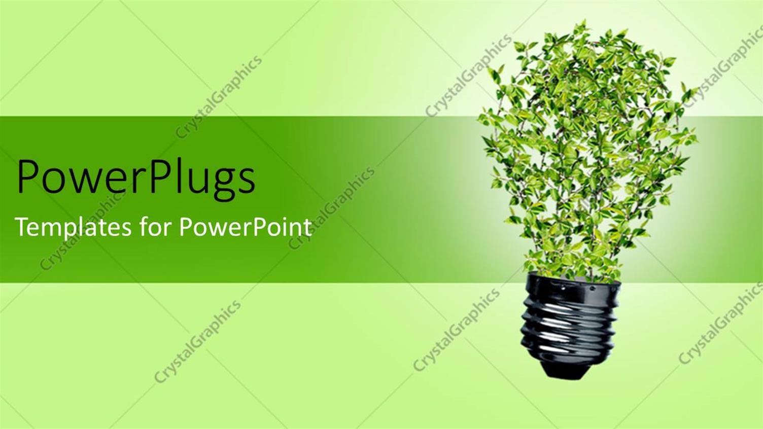 PowerPoint Template Displaying Green Bulb with Leaves as a Symbol of Energy and Nature Depicting Recycle Concept