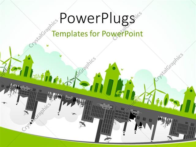Powerpoint template green cityscape with wind turbines and trees on powerpoint template displaying green cityscape with wind turbines and trees on contrasting image of toneelgroepblik Image collections