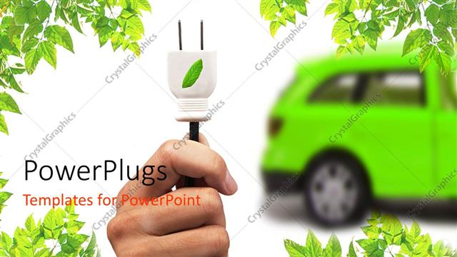 Powerpoint Template Green Electric Car Hand With White Leaf Motif