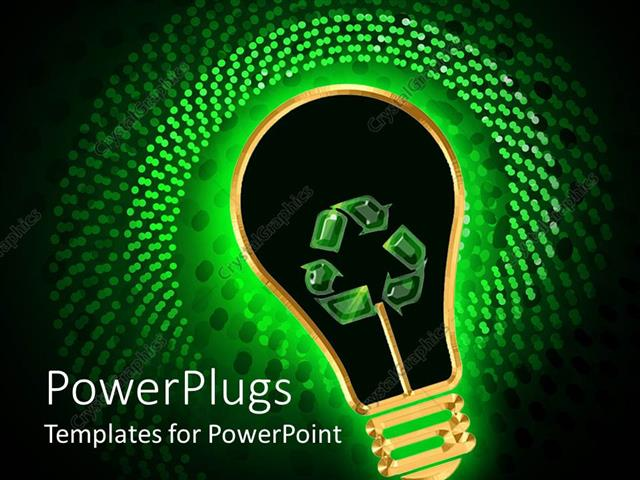 PowerPoint Template Displaying Green Energy Metaphor with Glowing Light Bulb Recycle Symbol