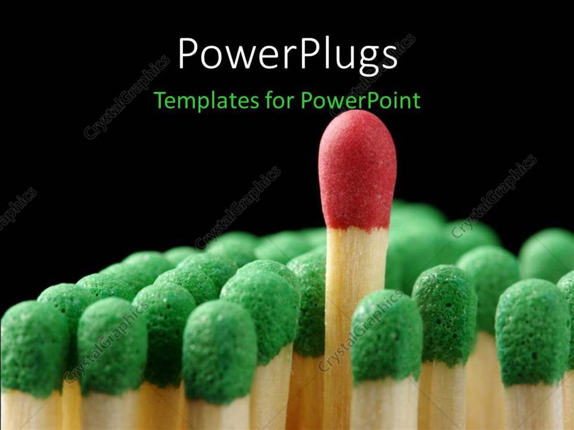 PowerPoint Template Displaying Green Headed Match Sticks with a Red One in the Middle