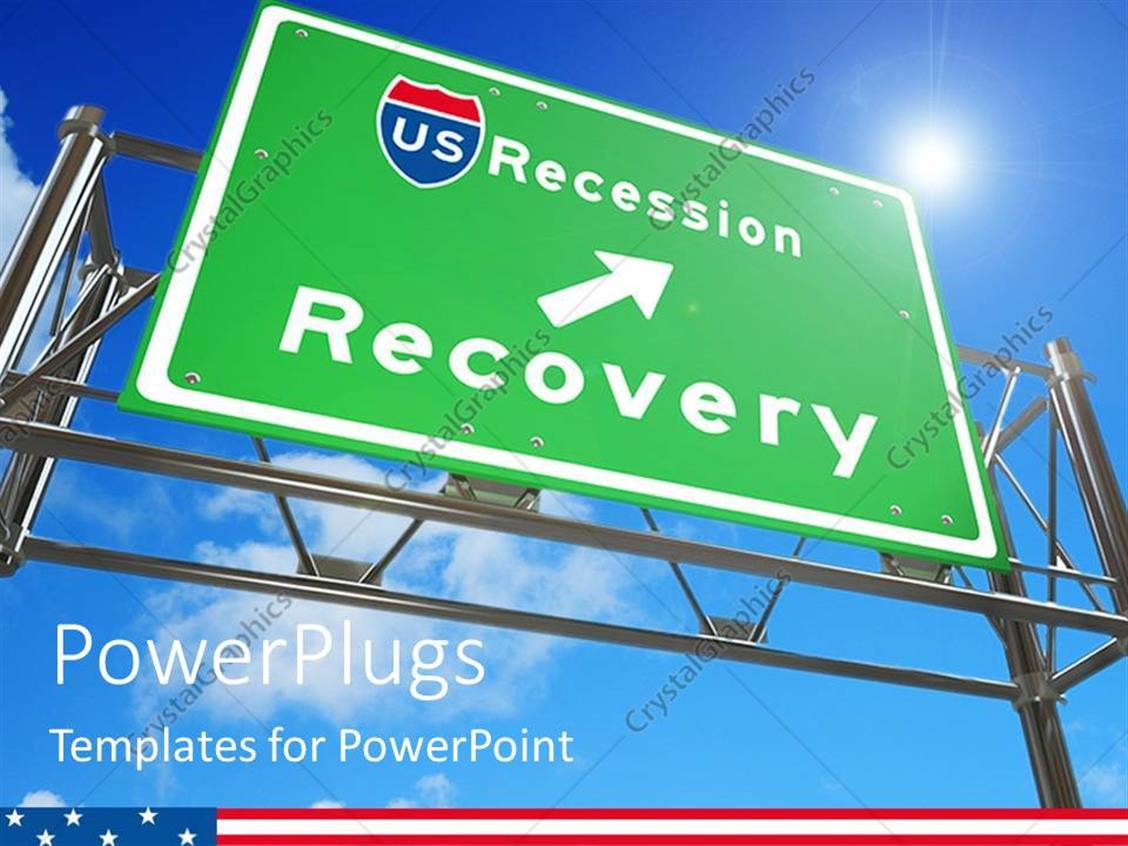 PowerPoint Template Displaying Green Highway Sign with Arrow to Recession Recovery on Blue Sky