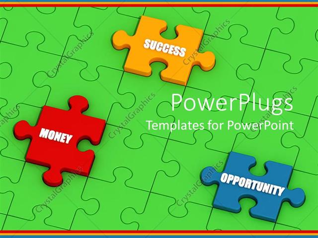 Powerpoint template green jigsaw puzzle with raised pieces bearing powerpoint template displaying green jigsaw puzzle with raised pieces bearing success money and toneelgroepblik Choice Image