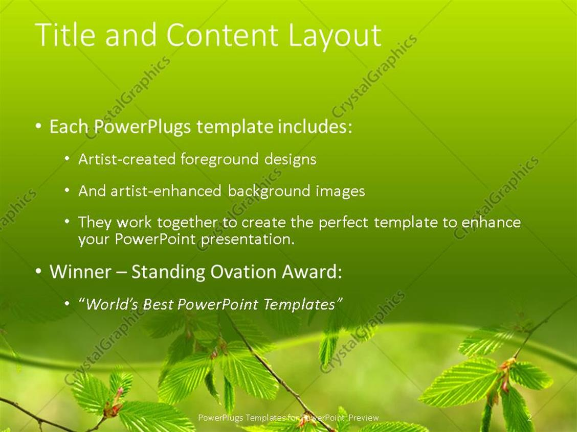Powerpoint template green mint leaves on a tree on a green powerpoint products templates secure alramifo Images