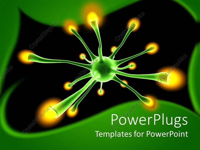 Powerpoint Template Green Neuron Cell With Yellow Tips In A Dark