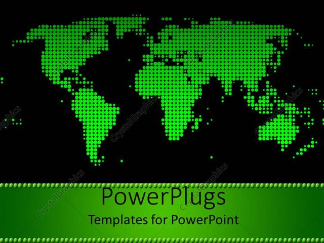 Powerpoint template green world map on black background 31784 powerpoint template displaying green world map on black background gumiabroncs Images