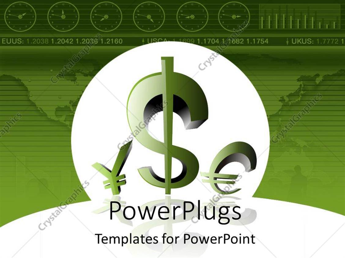 PowerPoint Template Displaying a Greenish Background with Currency Symbols