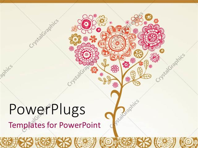 Powerpoint Template Greeting Card With Floral Design For Wedding Or