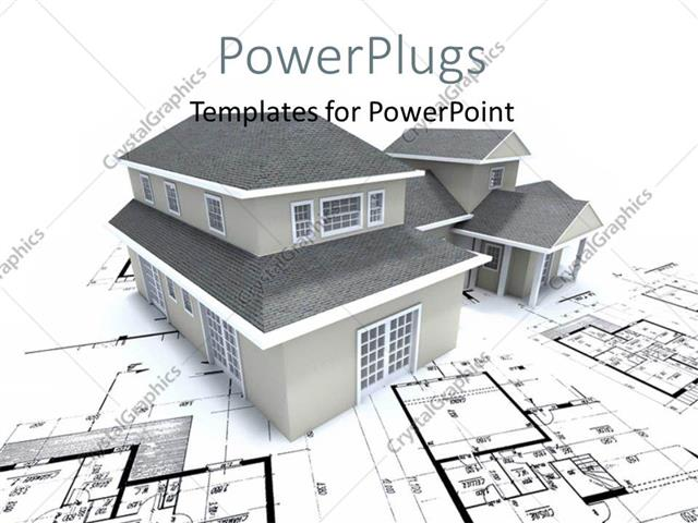 Powerpoint Template Grey Building Over Architectural Blueprint And