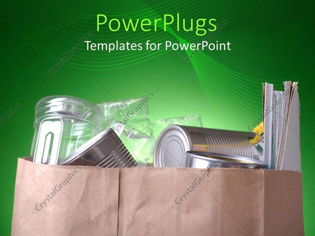 Powerpoint template grocery bag with silver cans plastic bottles powerpoint template displaying grocery bag with silver cans plastic bottles and magazines on abstract toneelgroepblik Image collections