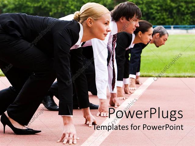 PowerPoint Template Displaying a Group of Business People Ready to Race