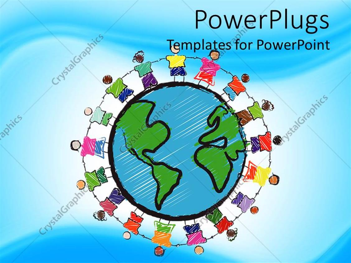 PowerPoint Template Displaying a Group of Children Holding their Hands Together and Earth in the Middle