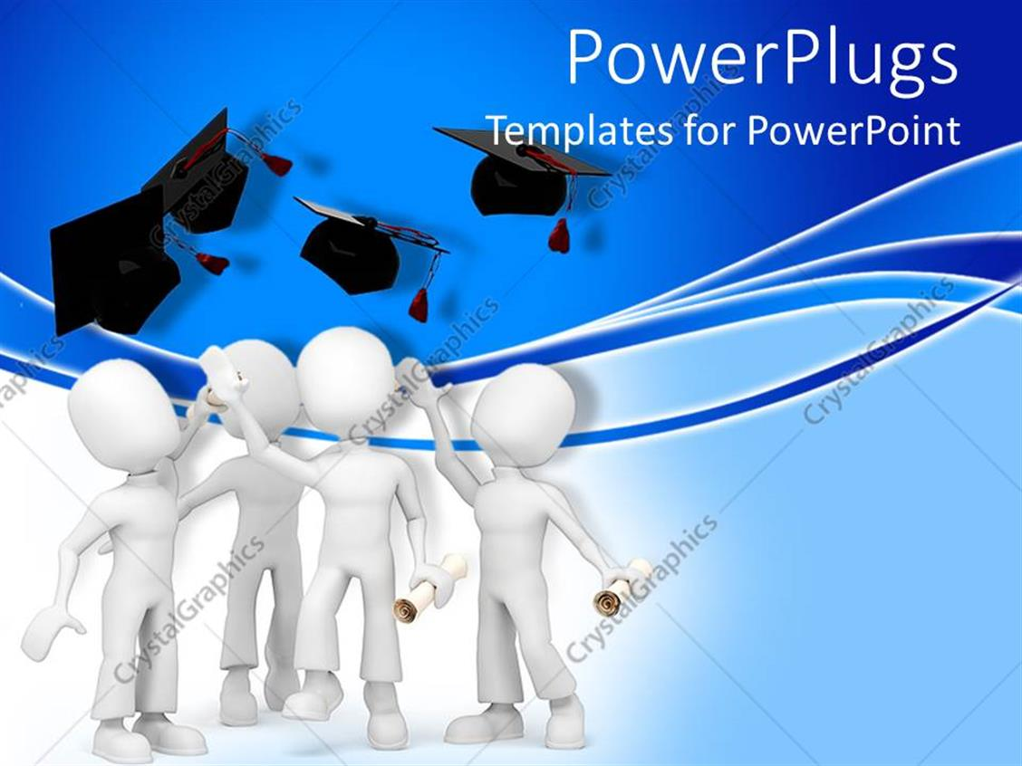 Powerpoint Template A Group Of Figures Celebrating Their Graduation