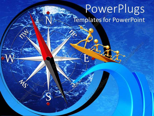 PowerPoint Template Displaying a Group of Figures Pointing Towards a huge Compass