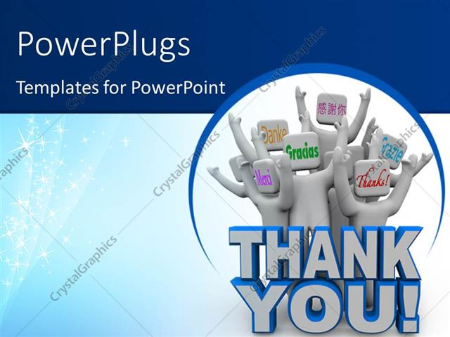 Powerpoint Template A Group Of Figures With The Word Thank You 6774