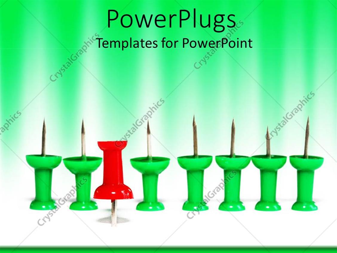 PowerPoint Template: group of green push pins with one red push pin ...