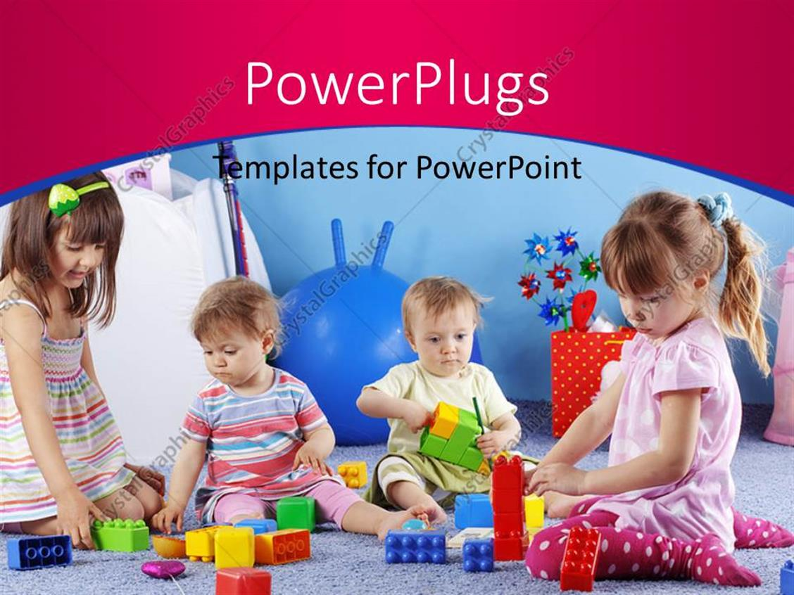PowerPoint Template Displaying Group of Kids Playing with Constructor on Pink and Blue Background at Kids School