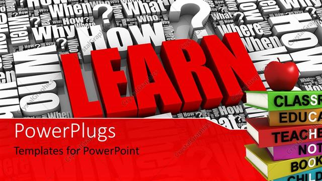 PowerPoint Template Displaying Lots of 3D Words and Characters with a Distinct Red Text that Spells Out the Word
