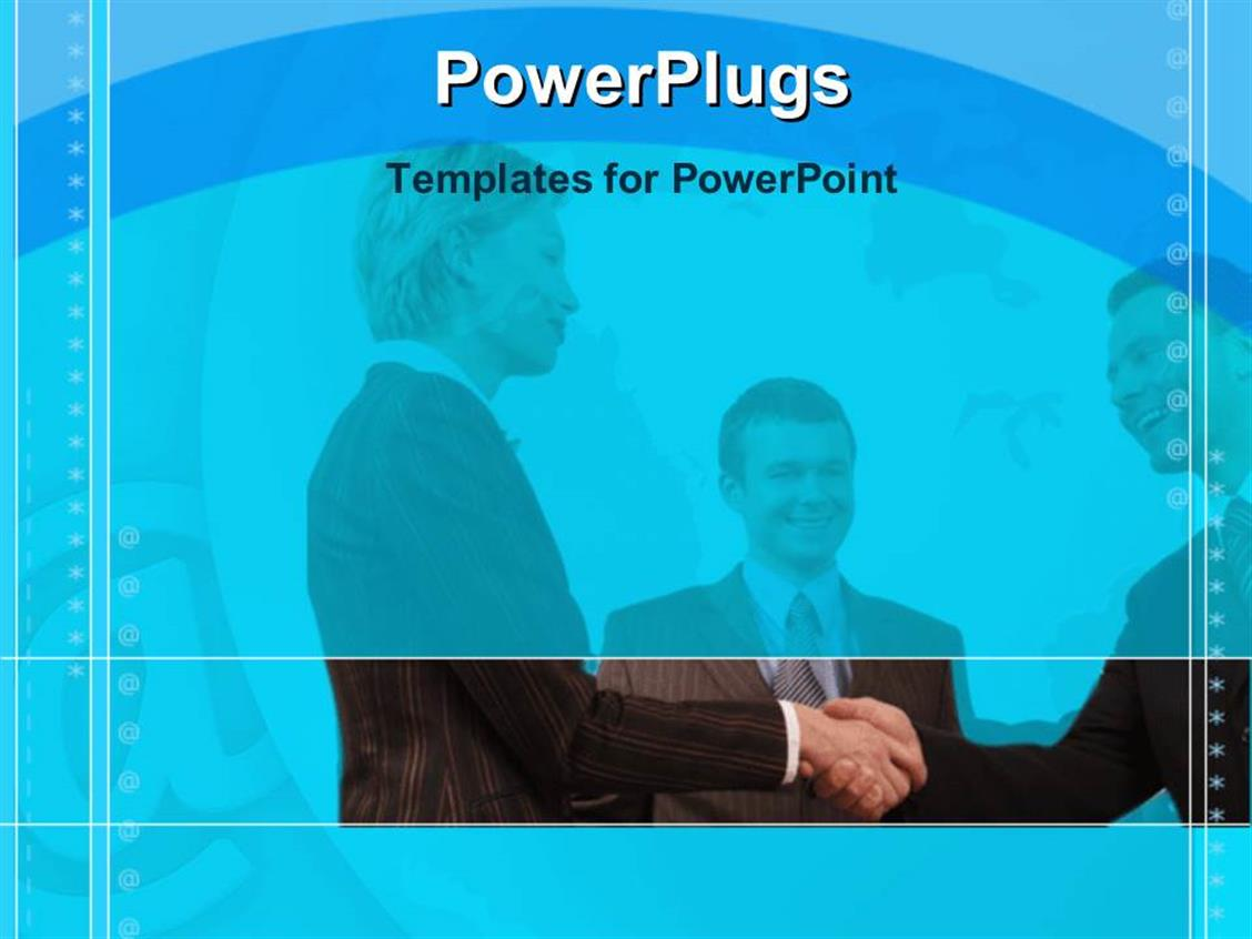 PowerPoint Template Displaying Group of Three Smiling Business People Making Deal on Blue Background Bordered by Animated Circles