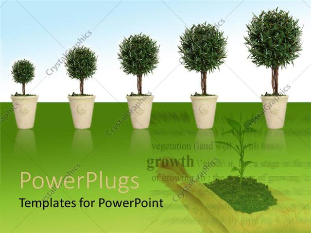 PowerPoint Template Displaying Growing Tress and Plants is Good for Environment and Human