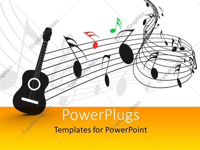 PowerPoint Template: guitar with music notes and symbols in ...