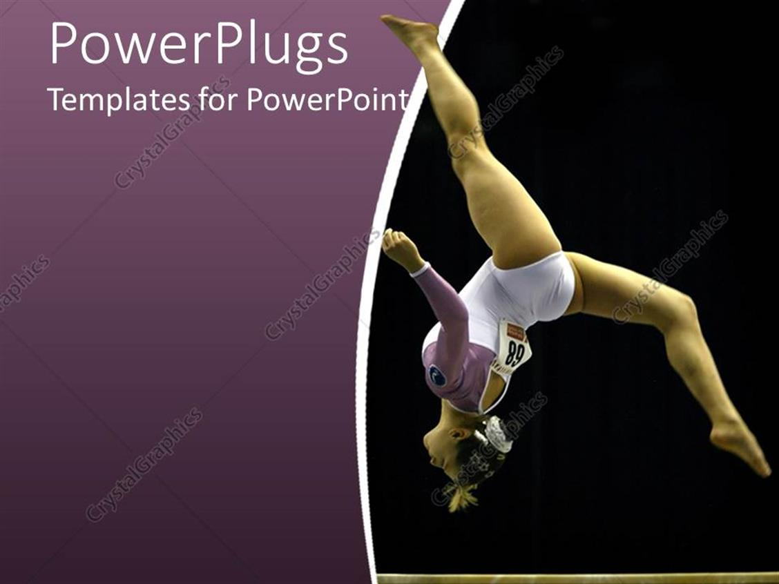 PowerPoint Template Displaying Gymnast Woman, Athlete Making a Somersault on Purple and Black Background