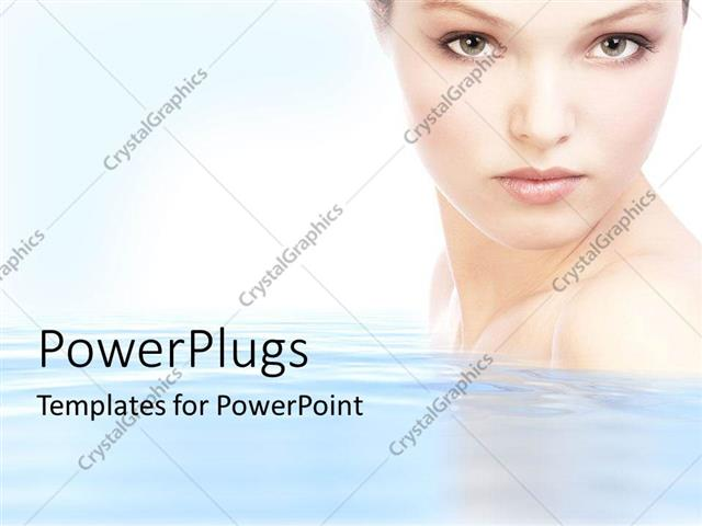 PowerPoint Template: Half portrait of a pretty lady on clear water ...