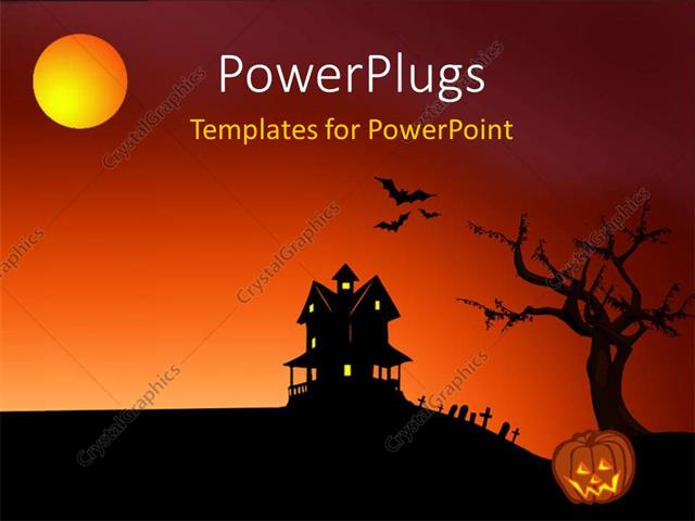 Powerpoint Template Halloween Depictions With Haunted House Bats