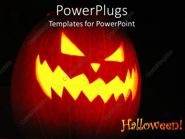 Powerpoint Template Displaying Halloween Theme With Jack O Lantern Halloween Word And Pumpkin