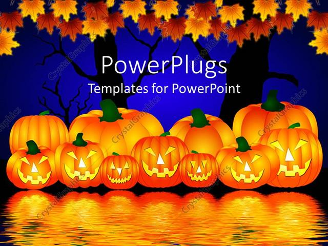 PowerPoint Template Displaying Halloween Theme with Pumpkins Reflecting in Water and Trees with Rusty Leaves