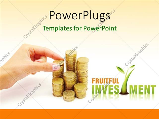 Powerpoint Template Hand Arranging Stack Of Coins On White