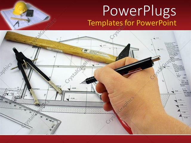Powerpoint template hand completing an architect design for a house powerpoint template displaying hand completing an architect design for a house blueprint with architects malvernweather Images