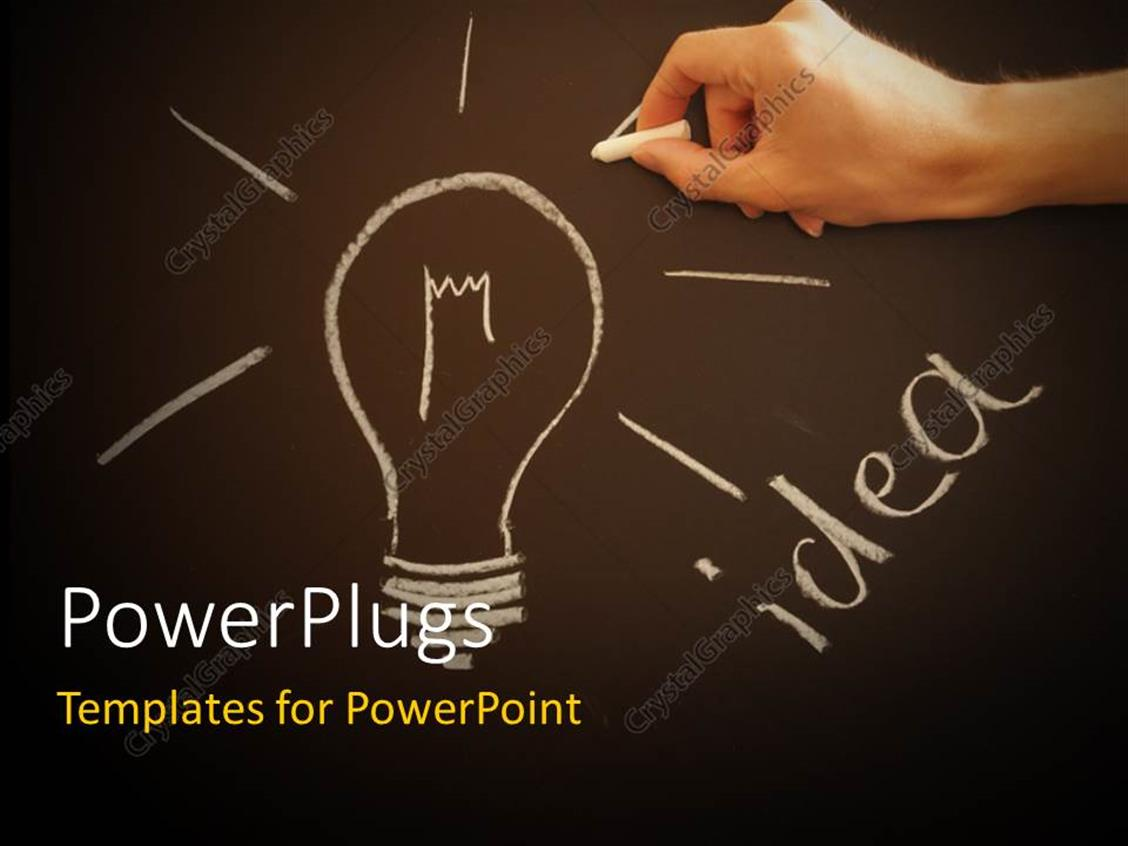 PowerPoint Template Displaying Hand Drawing Idea Light Bulb with Chalk