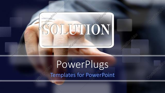 PowerPoint Template Displaying Man Hand Presses SOLUTION Button Over Blurry Background