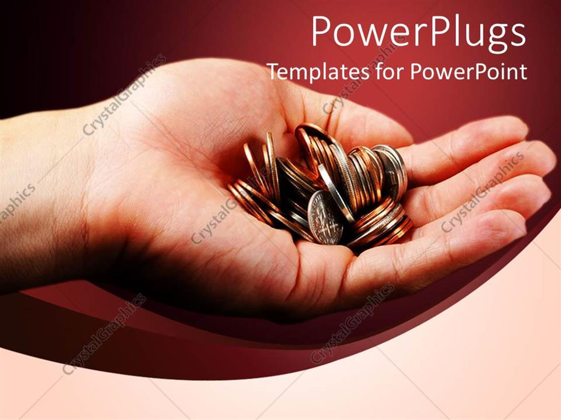 powerpoint template hand holding pile of coins on red background 20632. Black Bedroom Furniture Sets. Home Design Ideas