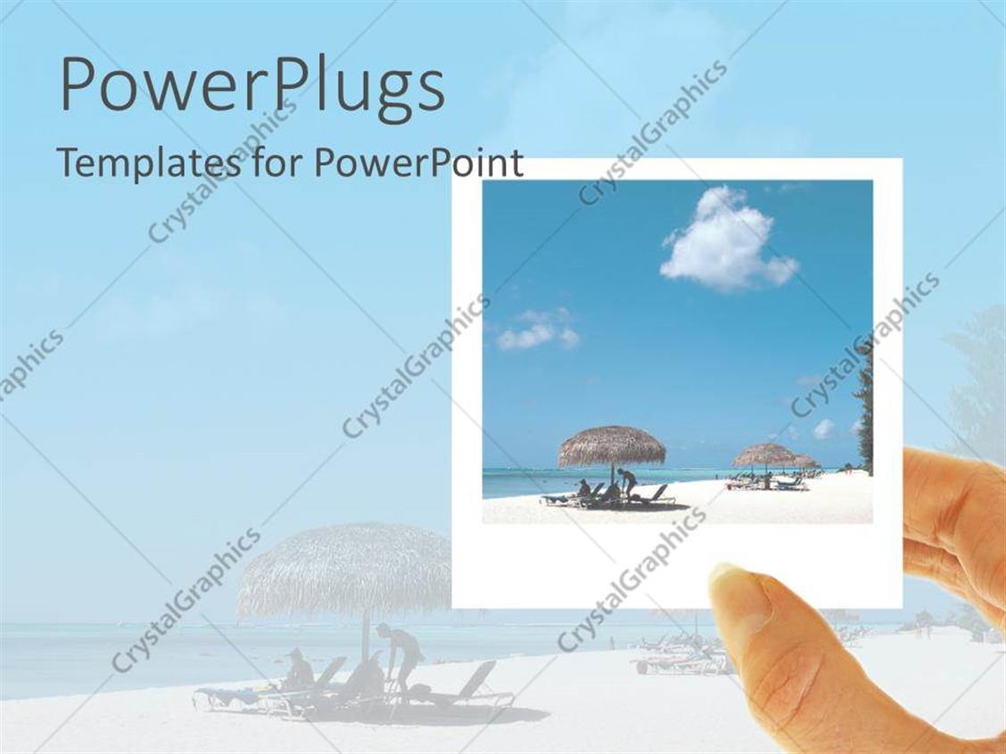 PowerPoint Template Displaying Hand Holding Polaroid of Beach Vacation