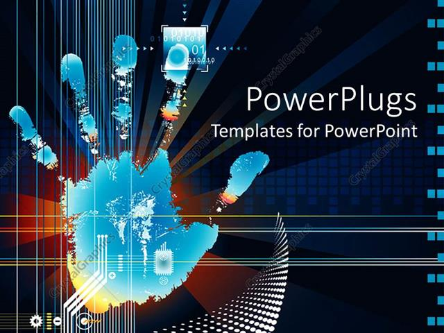 PowerPoint Template Displaying a Hand Print with Technological Background