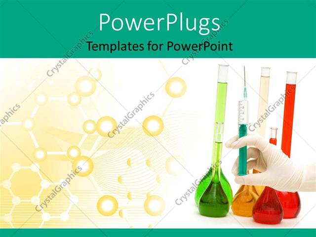 PowerPoint Template: hand with syringe and tubes with chemical bonds ...