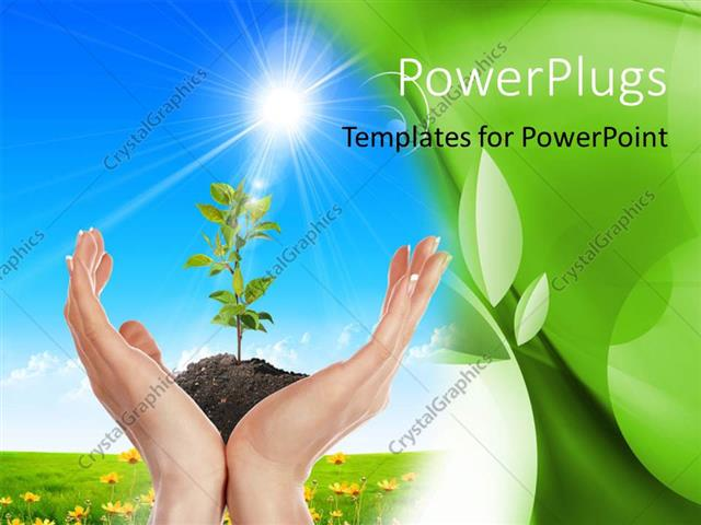 PowerPoint Template Displaying Hands Holding small Growing Green Plant with Garden and Sky in Background