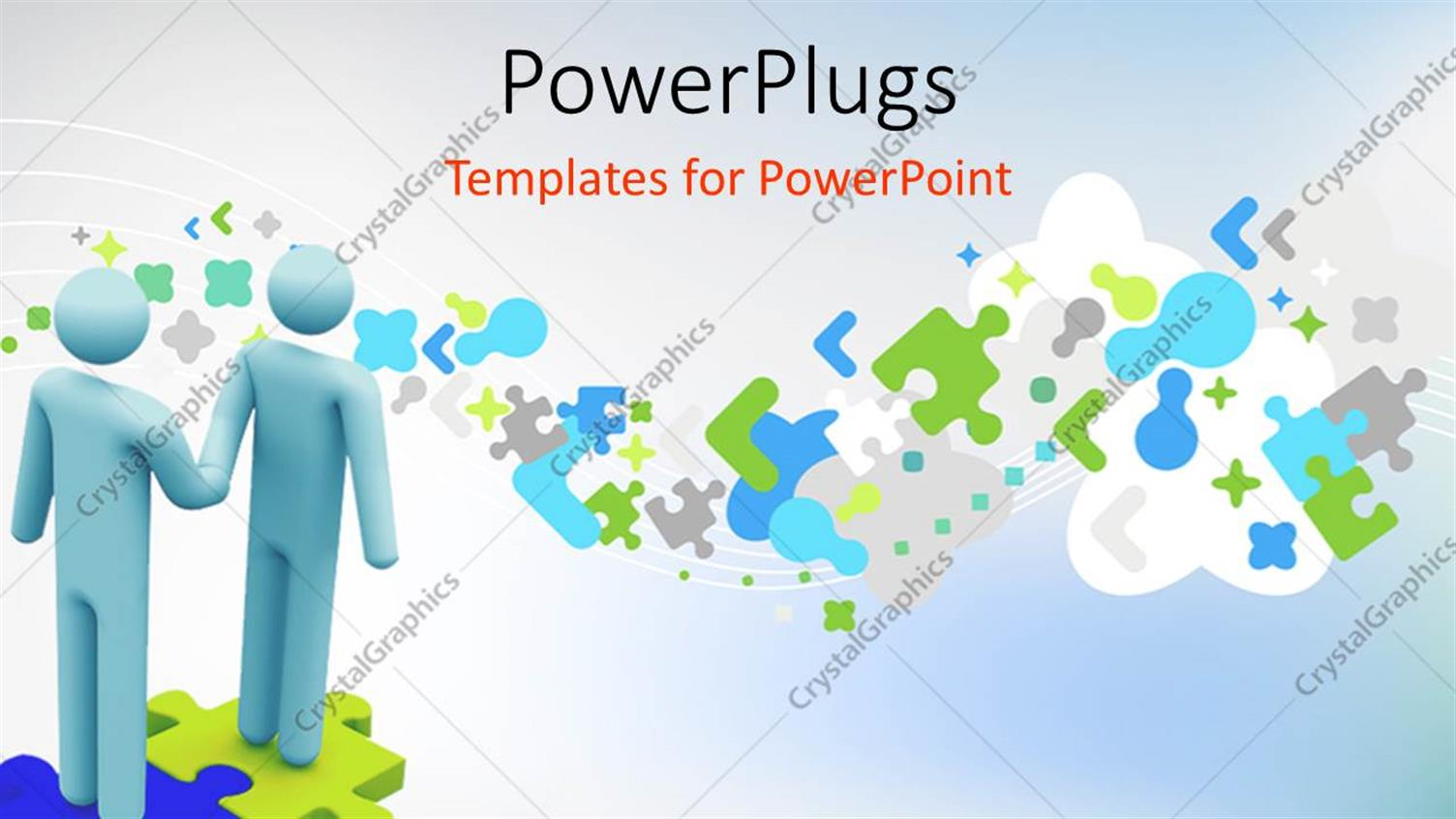 PowerPoint Template Displaying Handshake of Two 3D Men Standing on Puzzle Over Abstract Background