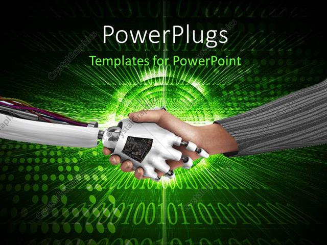 Powerpoint template handshake between a robot and a human being powerpoint template displaying handshake between a robot and a human being over digital green toneelgroepblik Images
