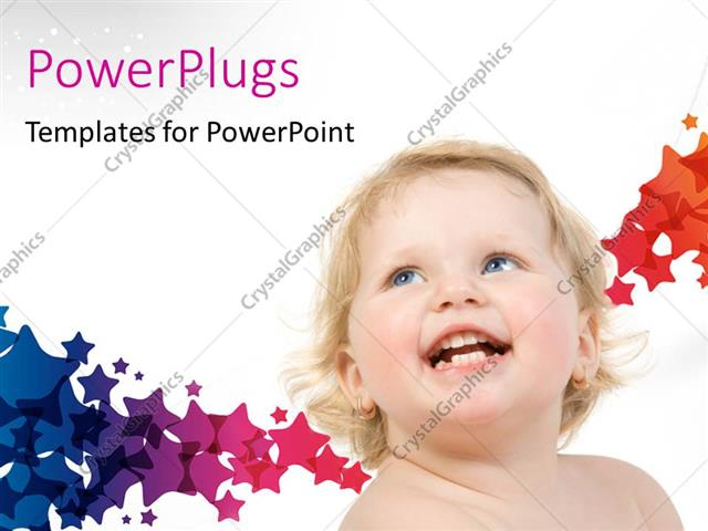 PowerPoint Template Displaying a Happy Kid with a Number of Colors in the Background