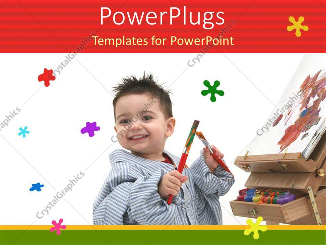 PowerPoint Template Displaying Happy Kid Playing with Paint Brushes and Drawing Sheet