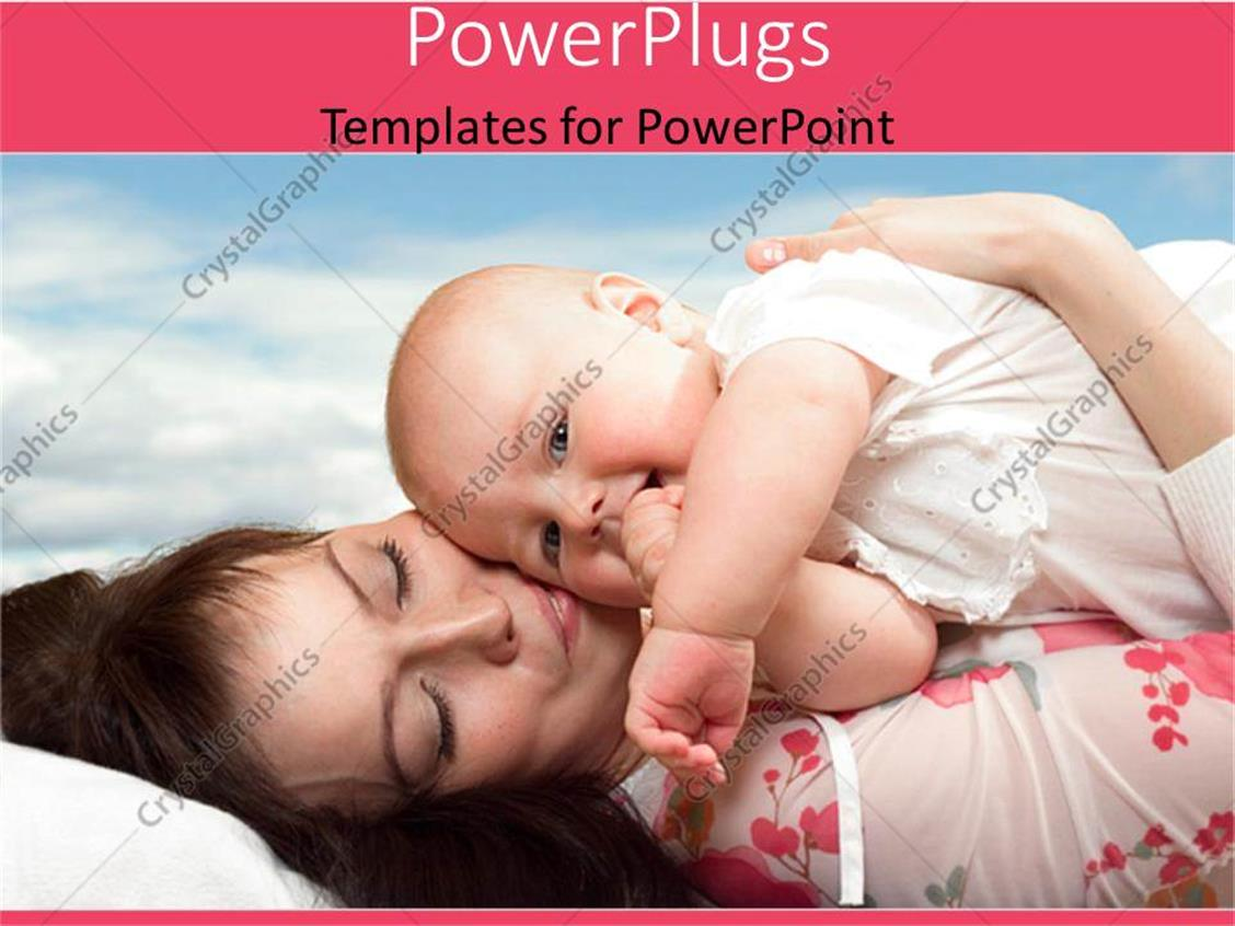 PowerPoint Template Displaying Happy Looking Mother Holding a Baby and Lying Down