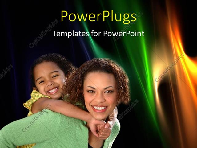 PowerPoint Template Displaying Happy Mother Carries Child on Back Over Abstract Background