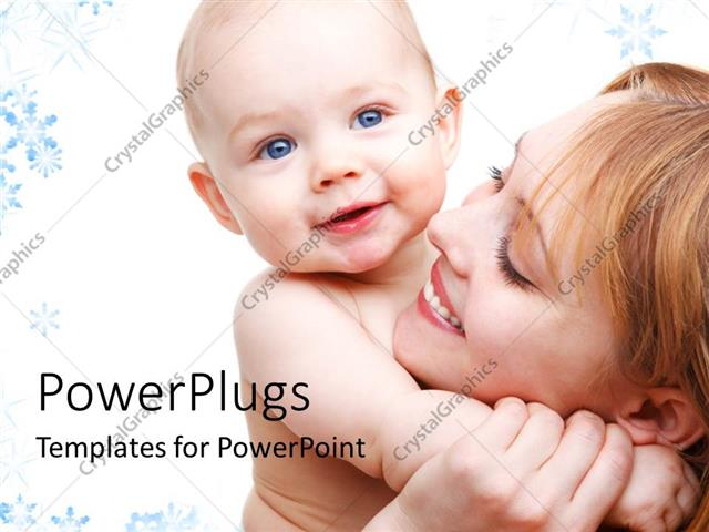 PowerPoint Template Displaying Happy Mother Carrying Beautiful Baby in Hand with Colorful Background