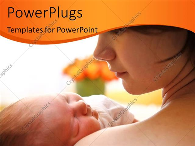 PowerPoint Template Displaying Happy Mother Holding a Newborn Baby Over Bright Background